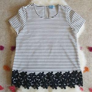 Cece by Cynthia Black & White Stripe Lace Hem Top